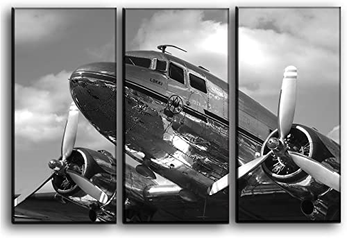 Big 3 Piece Vintage Dc-3 Arplane Wall Art Decor Picture Painting Poster Print on Canvas Panels Piece