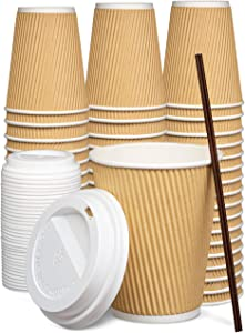 [50 Sets] 12 oz Insulated Ripple Paper Hot Coffee Cups With Lids - Disposable To Go Cups