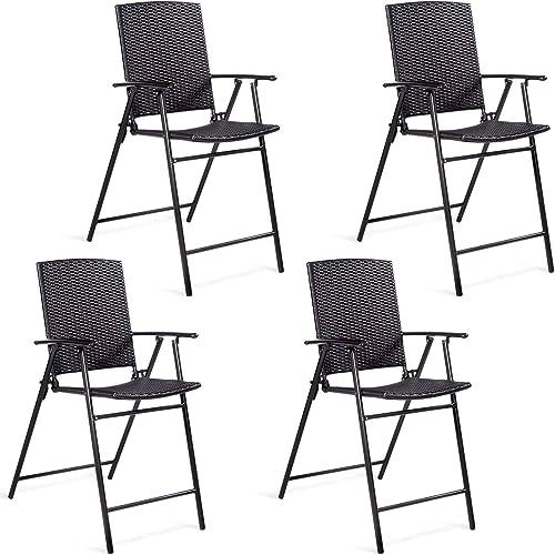 Casart Folding Wicker Rattan Bar Chairs Set of 4 Tall Stool