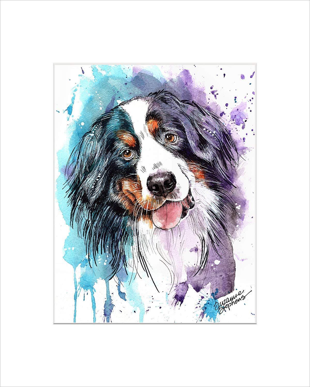 Amazoncom Bernese Mountain Dog Watercolor Art Print Of