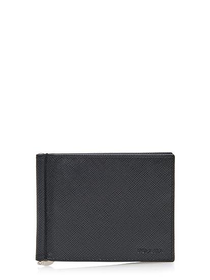 Prada tarjetero para tarjetas de crédito en piel hombre nuevo negro: Amazon.es: Ropa y accesorios