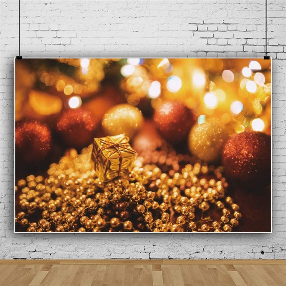 Yeele Abstract Christmas Photography Backdrop Golden Gifts Bead Background Xmas Room Decor 10x8ft Newborn Baby Kids Portrait Photo Booth Banner Photoshoot Props Wallpaper
