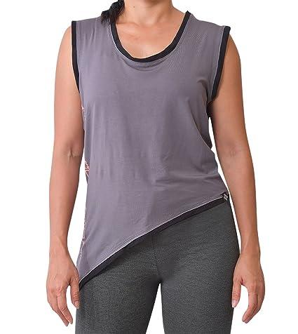 virblatt Camiseta Yoga Mujer de Bamboo Camiseta asimétrica ...