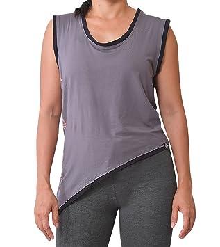 virblatt Camiseta Yoga Mujer de Bamboo Camiseta asimétrica como Ropa Yoga Deportiva-Candrardha: Amazon.es: Deportes y aire libre