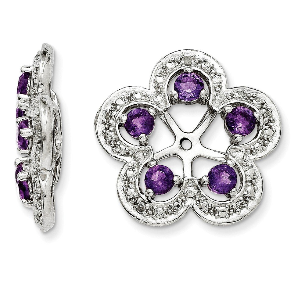 Sterling Silver Rhodium Diamond & Amethyst Earring Jacket