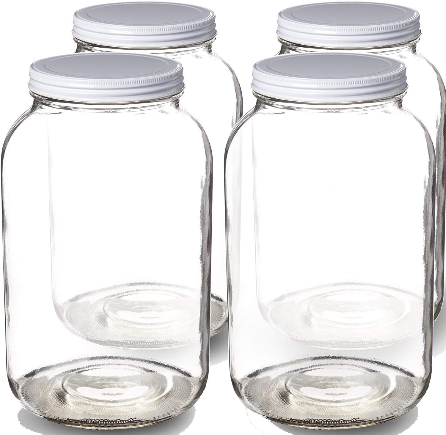 Paksh Novelty 1-Gallon Glass Jar Wide Mouth with Airtight Metal Lid - USDA Approved BPA-Free Dishwasher Safe Mason Jar for Fermenting, Kombucha, Kefir, Storing and Canning Uses, Clear. PN-1GM4