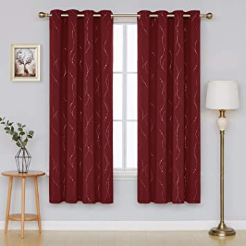 Deconovo Super Soft Dotted Line Foil Printed Thermal Insulated Blackout Curtains Window Treatment Eyelet Curtains for Children with Two Matching Tie Backs 46 x 54 Inch Red Two Panels