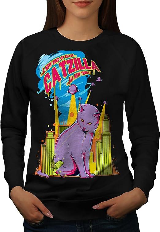 Attack Casual Pullover Jumper Wellcoda Cat Godzilla Parody Womens Sweatshirt