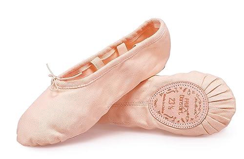 Amazon.com: DSG DANSGIRL Zapatos de ballet de lona con suela ...