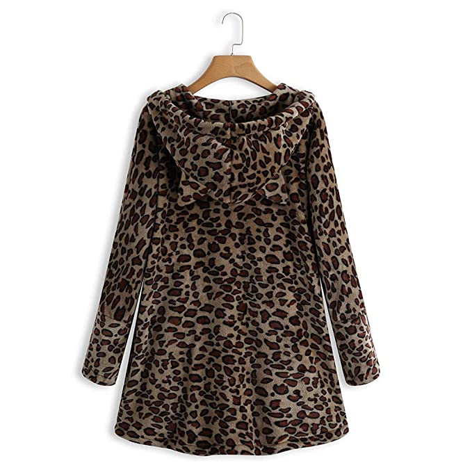 Lukame✯ Nuevo Abrigo de Lana Con Botón de Leopardo Para Mujer ...