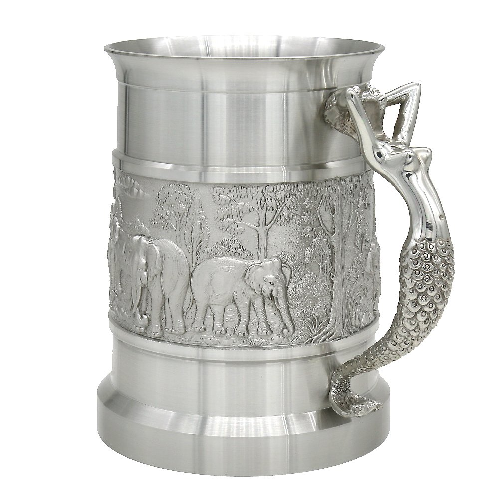 Oriental Pewter - Pewter Beer Mug - Pure Tin 97% Lead-Free Pewter BJ09L Hand Carved Beautiful Embossed Handmade in Thailand