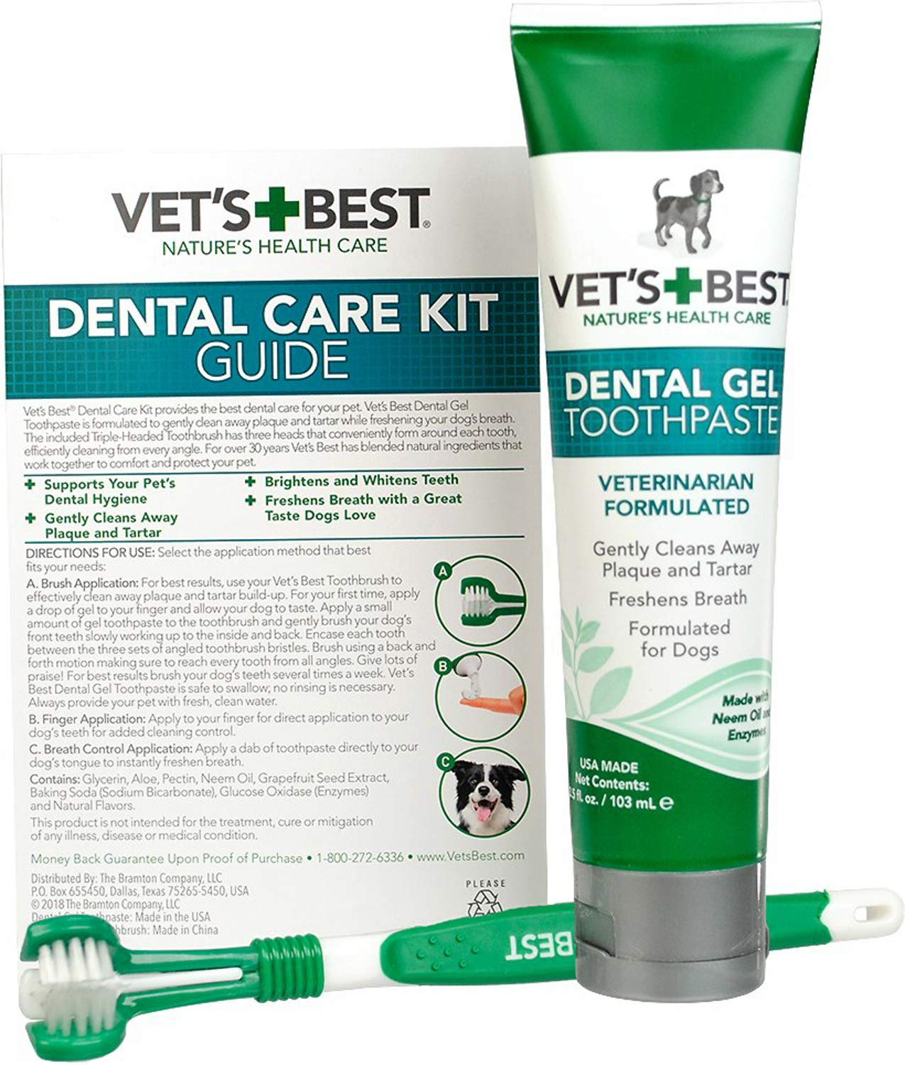 Vet's Best Dental Care Triple-Headed Toothbrush & Gel Toothpaste for Dogs, 3.5 Ounce, 24 Pack