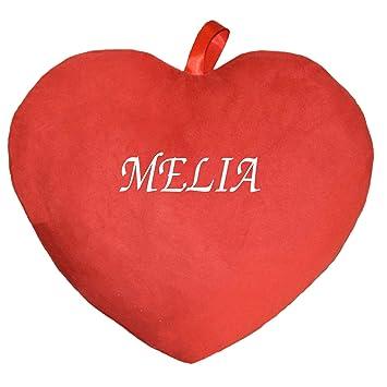 coussin imprim coussin avec prnom melia cur rouge - Melia Prenom
