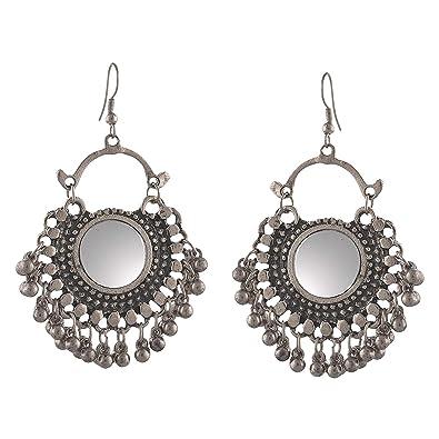 6a284d303 Buy Aabhu Afghani Designer Vintage Oxidised German Silver Tribal Hoop  Dangler Hanging Mirror Chandbali Earring Antique Jewellery for Girls & Women  Online at ...