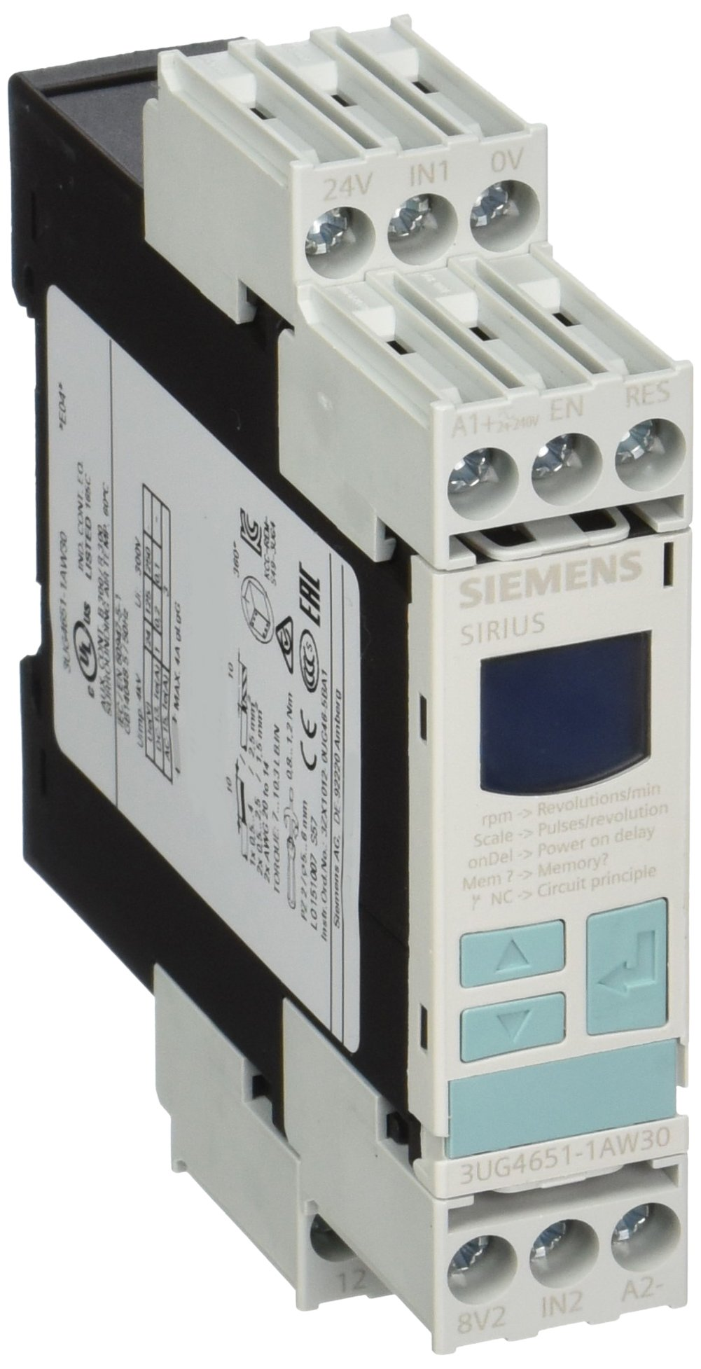 Siemens 3UG46 51-1AW30 Speed Monitoring Relay, Screw Terminals, 0.1-2200rpm Measuring Range, Off, 0.1-99.9rpm Hysteresis, 0-900s On Delay Time, 0.1-99.9s Tripping Delay Time, 1-10Pulses Per Revolution, 24-240VAC/VDC Control Supply Voltage by SIEMENS