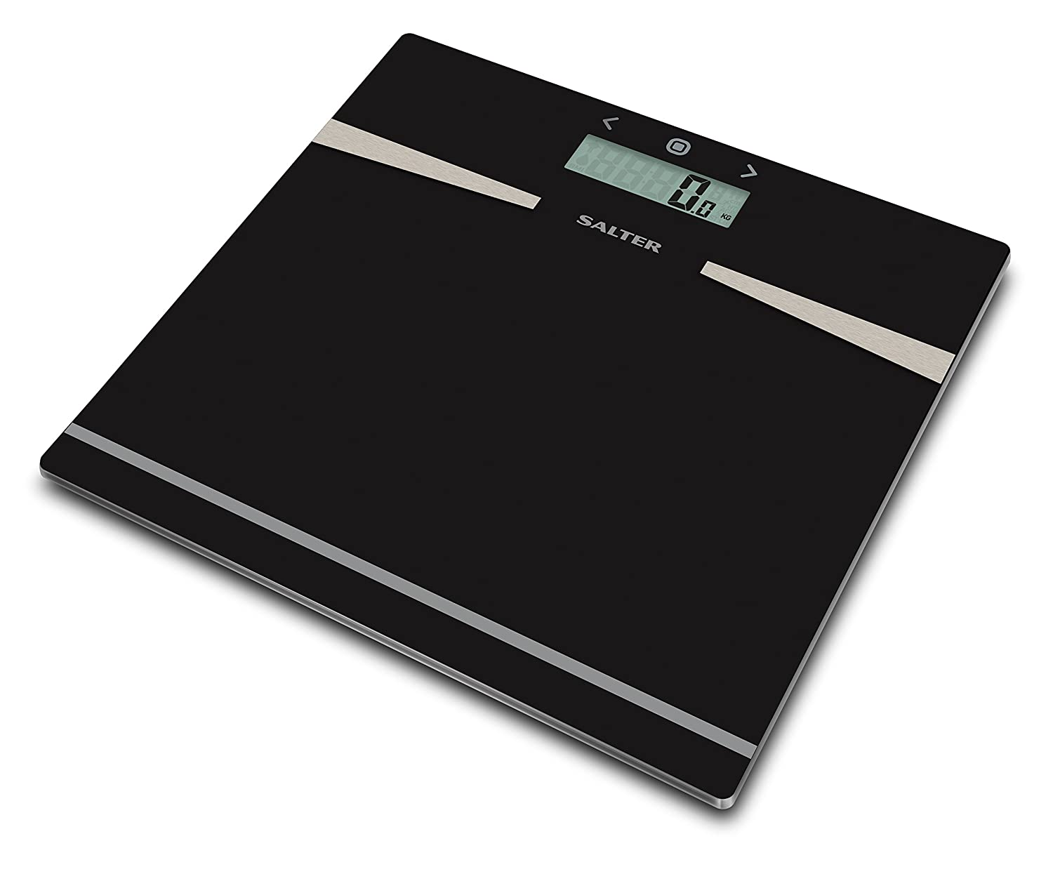 Salter Glass Body Analyser Bathroom Scales, Measure Weight BMI Body Fat Body Water, Ultra Slim Toughened Glass, 12 User Memory, Easy to Read Digital Display, Instant Reading Step-On Feature - Black FKA Brands Ltd 9121 BK3R