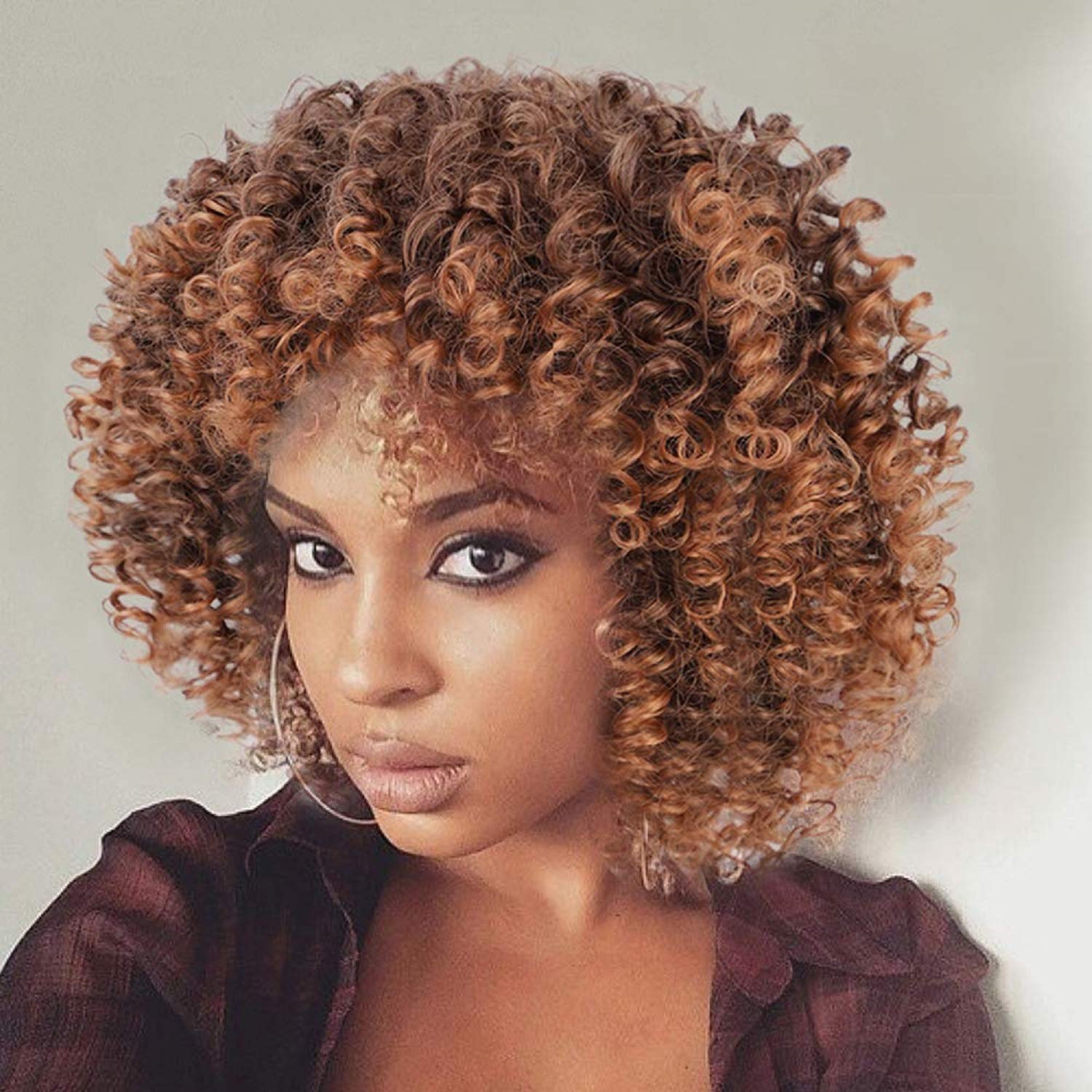 Amazon Com N T Afro Short Kinky Curly Wigs For Black Women Synthetic Hair Ombre Brown Wig Cosplay Holiday Gifts For Girls Beauty