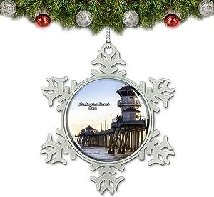 Umsufa USA America Huntington Beach Pier Christmas Ornament Tree Decoration Crystal Metal Souvenir Gift