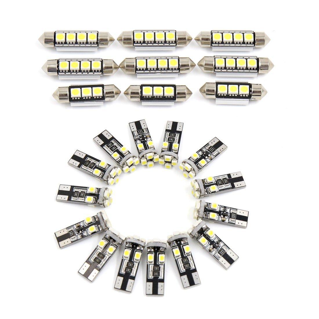 zantec 23pcs blanco Festoon Luz LED bombillas LED luces de coche interior luz de lectura de c/úpula de mapa juego de bombillas para BMW E90/E92/E93/M3/2006/ /2011/Canbus