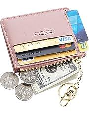 Cyanb Slim Leather Card Case Holder Front Pocket Wallet Change Purse for Women Girls keychain