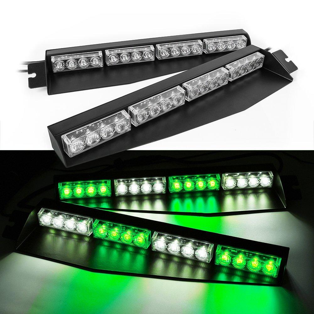 FANTASTIC-TRADING 32 LED AUTO EMERGENCY WARNING STROBE SPLIT DECK DASH WINDSHIELD LIGHT BAR AMBER /& WHITE