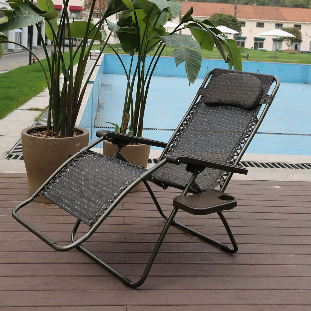 Nice Amazon.com : Abba Patio Zero Gravity Lounge Chair 2 Pack Oversized Outdoor  Patio Chair Adjustable Folding Recliner With Detachable Tray : Garden U0026  Outdoor