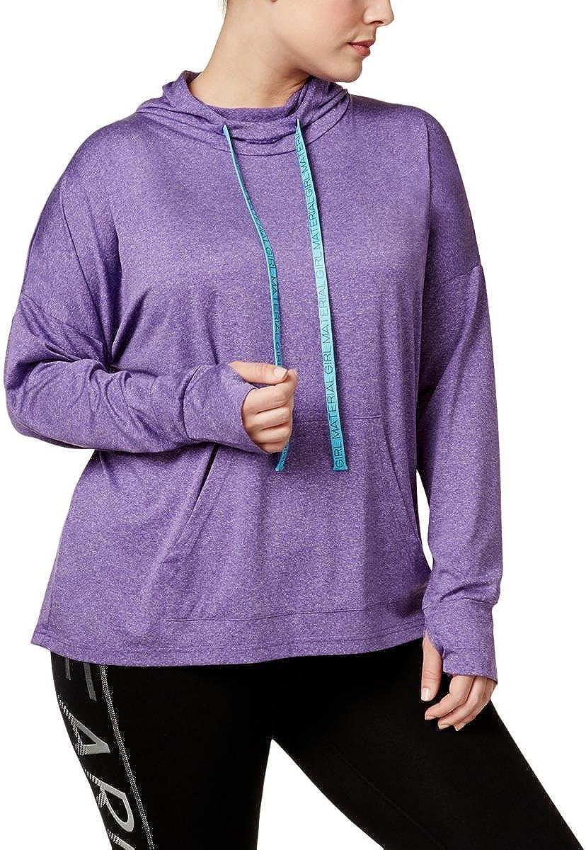 Material Girl Womens Active Plus Size Pullover Hoodie Sweatshirt
