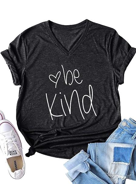 4c0d29cd621a Amazon.com: Be Kind T Shirt Kindness Printed Shirt Women's Funny  Inspirational V-Neck Tees Shirt Christian Teacher Fall Shirts Tops: Clothing