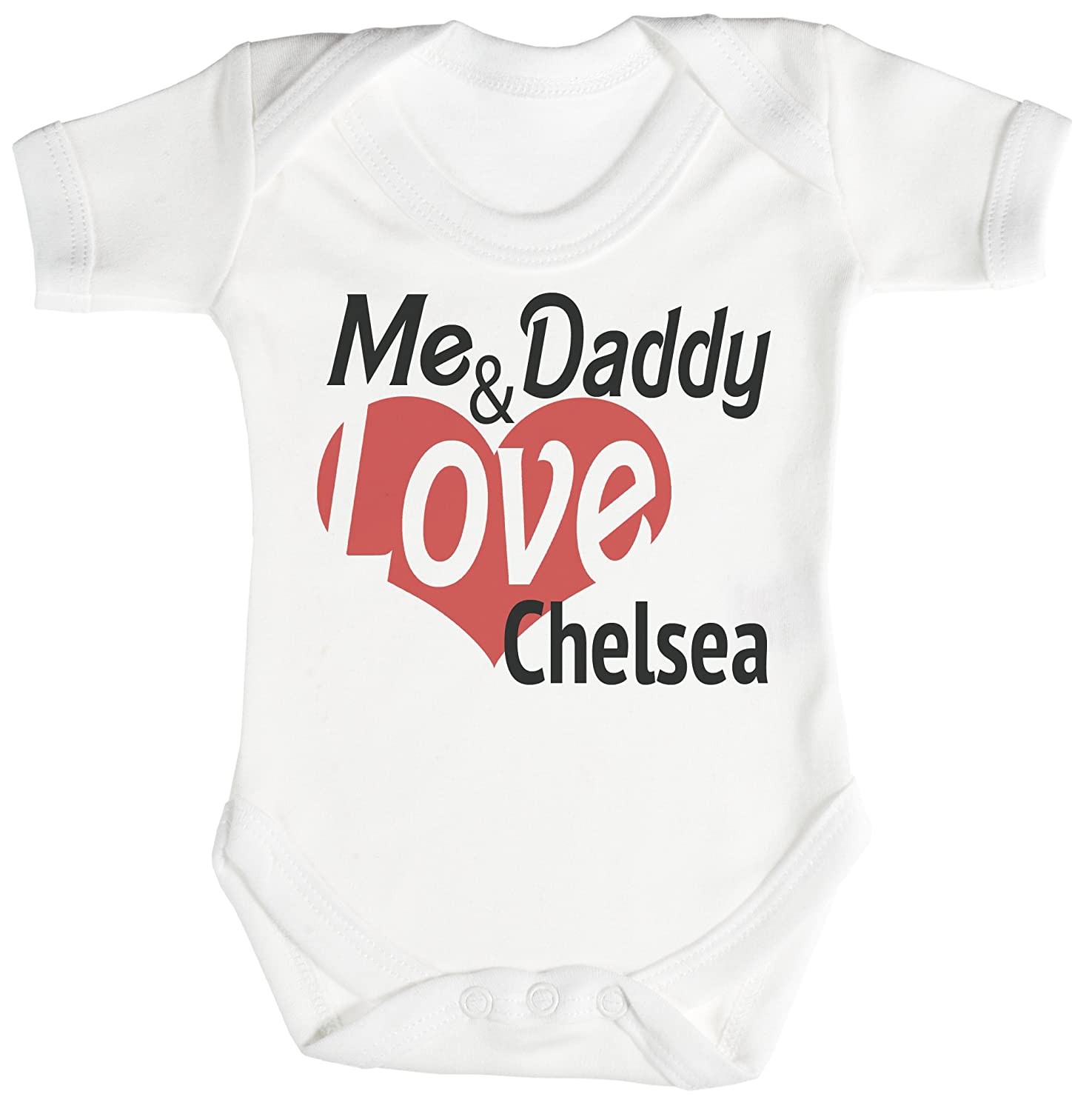 Zarlivia Clothing Me & Daddy Love Chelsea Baby Bodysuit/Babygrow 100% Cotton