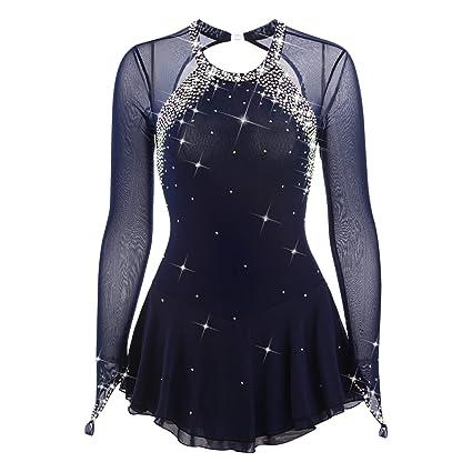 a0a5b7fae6f247 Figure Skating Dress Competition Ice Skating Dress Spandex Handmade  Rhinestone Jeweled Classic Long Sleeve (S