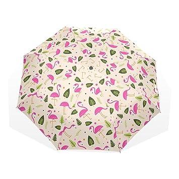 GUKENQ - Paraguas de Viaje con diseño de flamencos Rosas, Hojas Verdes, Ligero,