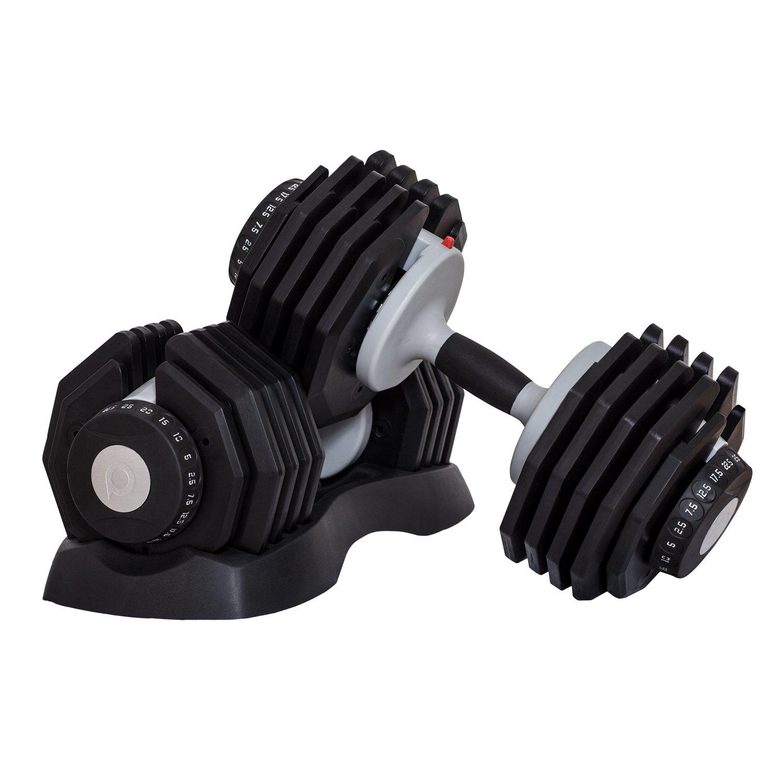 DialTech Hantelsystem von 2,5 bis 25kg, schnell verstellbar & platzsparend, Anti-Rutsch-Griff, 10 Hanteln in 1, Lieferumfang  2 Hanteln und 2 Ablageschalen