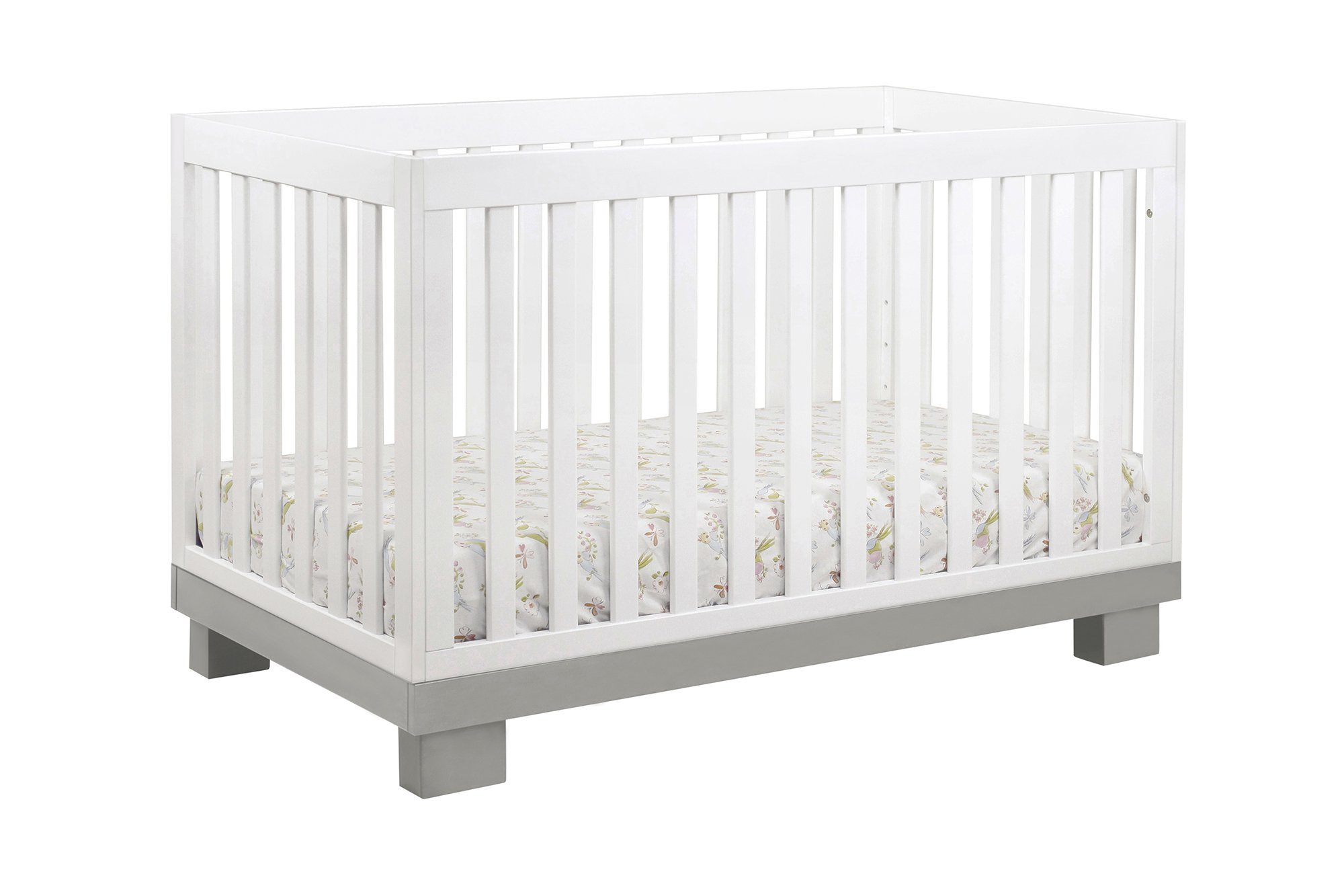 Babyletto Modo 3-in-1 Convertible Crib with Toddler Bed Conversion Kit, Grey / White