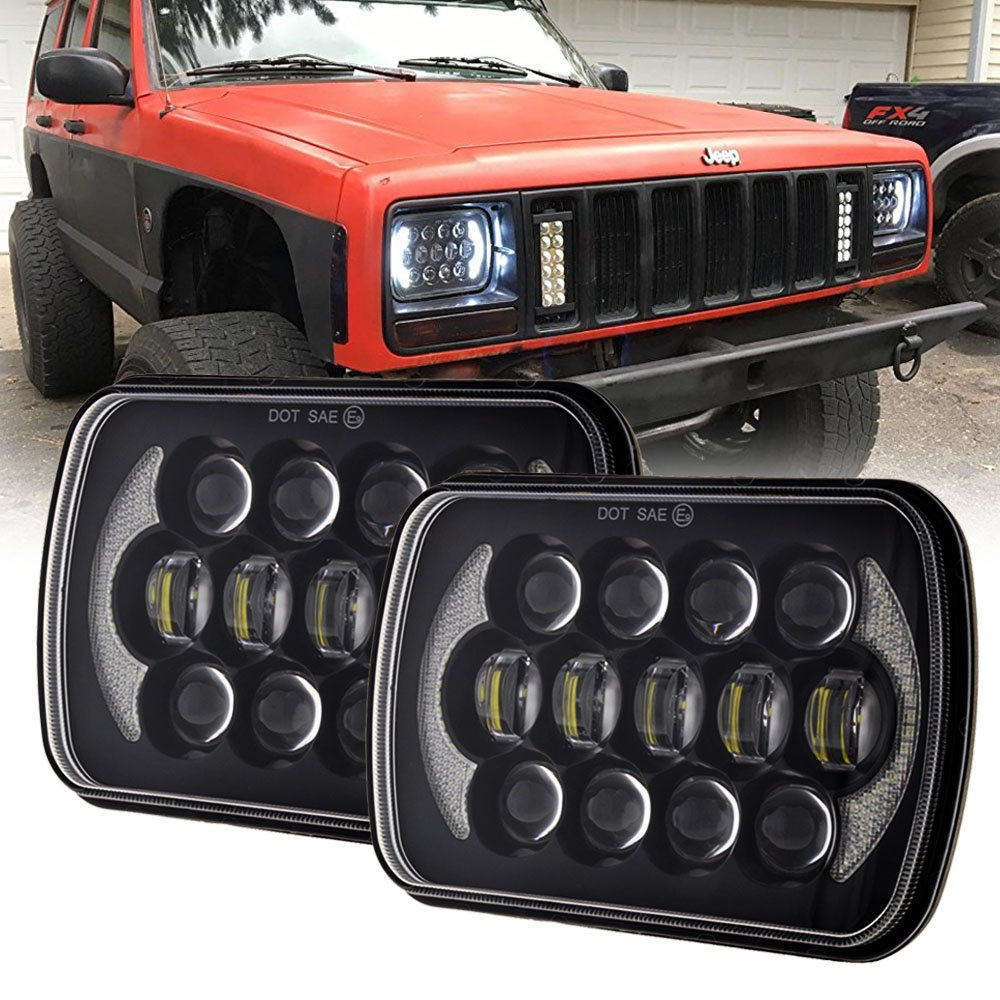 (Pair) 5''x7'' 6''x7'' High Low Beam Led Headlights for Jeep Wrangler YJ Cherokee XJ H6054 H5054 H6054LL 69822 6052 6053 with Angel Eyes DRL (Black 105w Osram Chips) LX-LIGHT