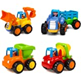 Yiosion Friction Powered Cars Push and Go Trucks Construction Vehicles Toys Set of Tractor Bulldozer Dump Truck Cement Mixer