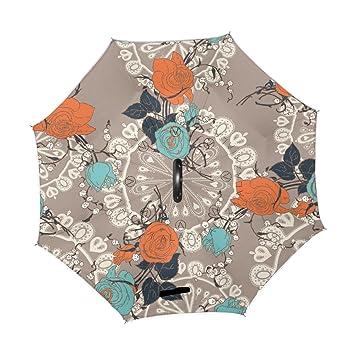 ALAZA Paraguas de viaje para mujer y hombre, diseño vintage de rosas de encaje,