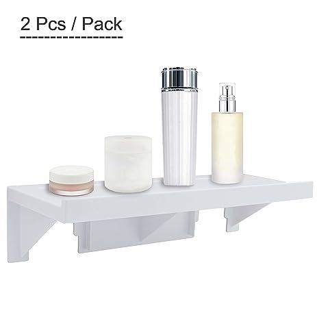 Upgraded Wall Mount Shelf,OKOMATCH No Trace Stick Plastic Storage Rack For  Kitchen/
