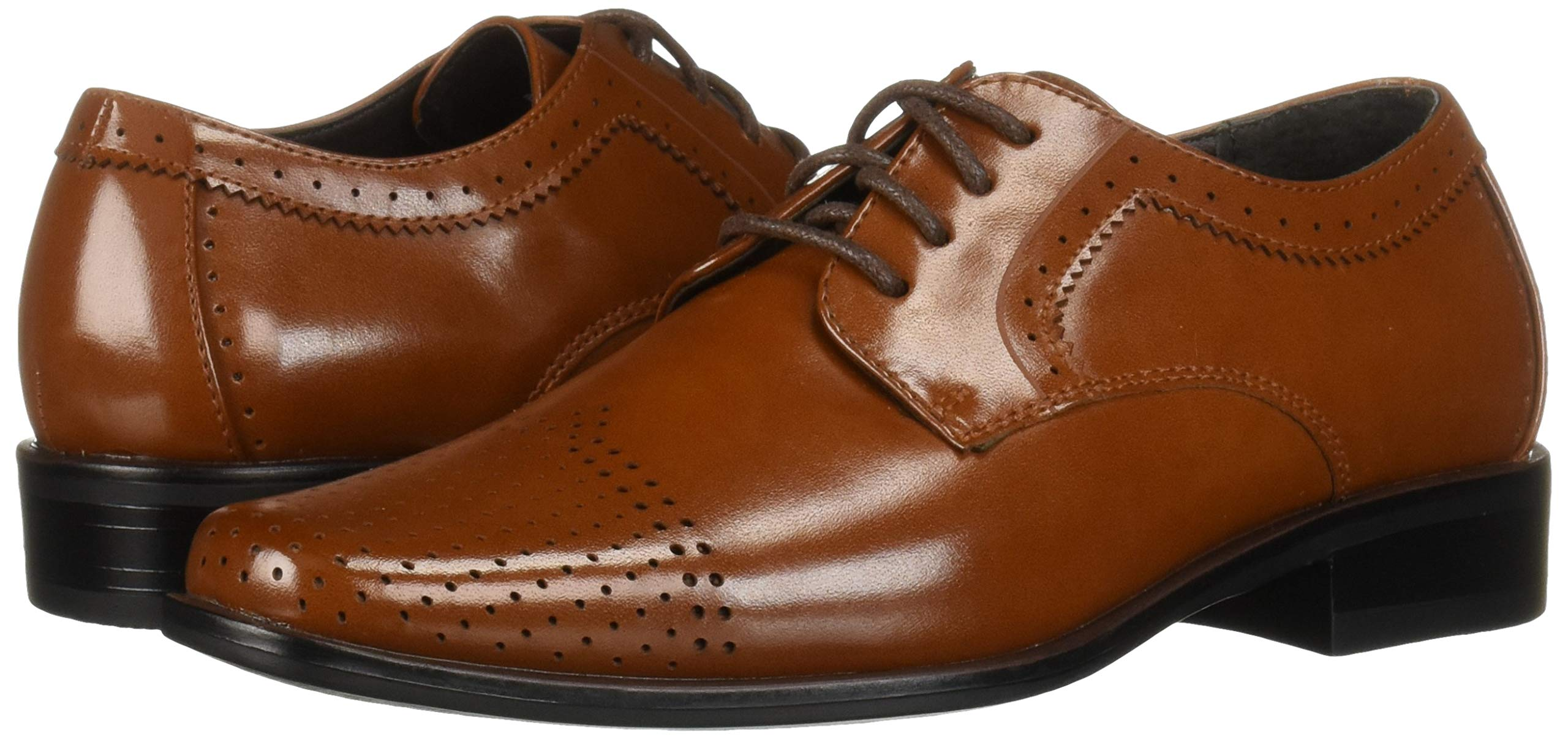 STACY ADAMS Unisex Sanborn Perfed Cap Toe Lace-Up Oxford, Cognac 5 M US Big Kid by STACY ADAMS (Image #6)