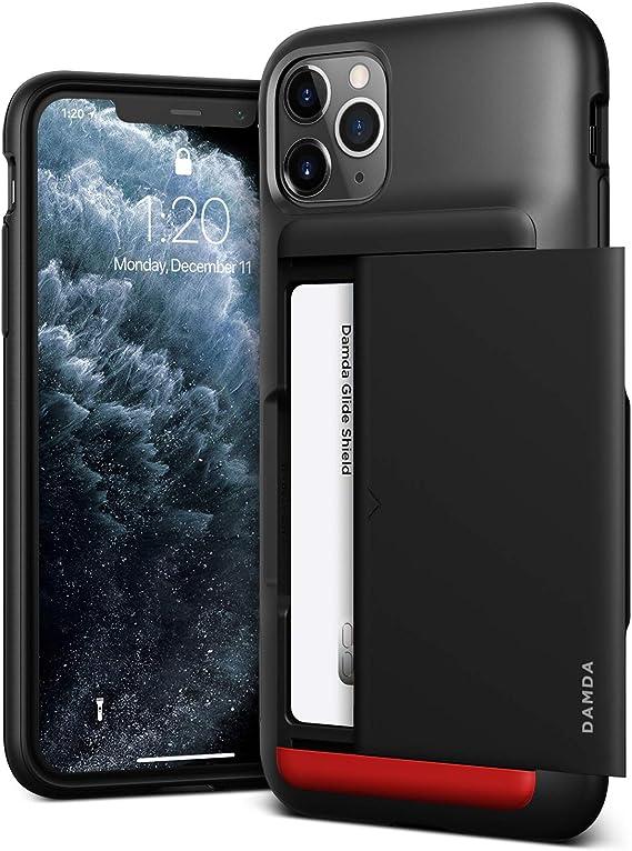 VRS DESIGN Damda Glide Shield Compatible for iPhone 11 Pro Max Case, with [2 Cards] Premium [Semi Auto] Wallet for iPhone 11 Pro Max 6.5 inch (2019) Matte Black