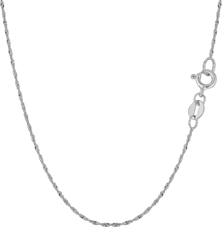 14k White Gold 1.0mm Round Diamond-Cut Wheat Chain Necklace Bracelet Anklet 6-30