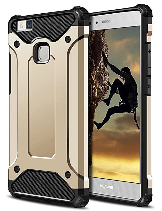 29 opinioni per Huawei P9 lite Cover,Coolden® Oro Shock-Absorption Soft TPU PC Bumper e