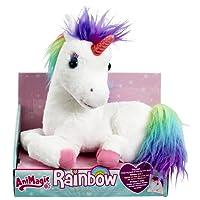 Animagic - Ma Licorne Magique Rainbow - Corne Lumineuse - Hénnit et émet des Sons Magiques - Peluche Interactive
