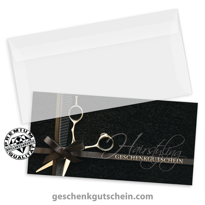 50 hochwertige Gutscheinkarten DIN-lang K9288 Gutscheine f/ür Friseurgesch/äft Friseur 50 Kuverts Vorderseite hochgl/änzend