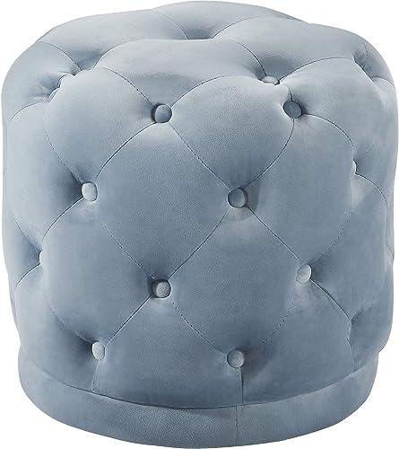Meridian Furniture Harper Collection Modern | Contemporary Velvet Upholstered Ottoman / Stool - the best ottoman chair for the money
