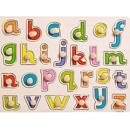 Colorful Alphabet Wooden Peg Puzzles Design Toys for Toddlers and Children,Educational Jigsaw Puzzles for Boys and Girls & Babies Gift