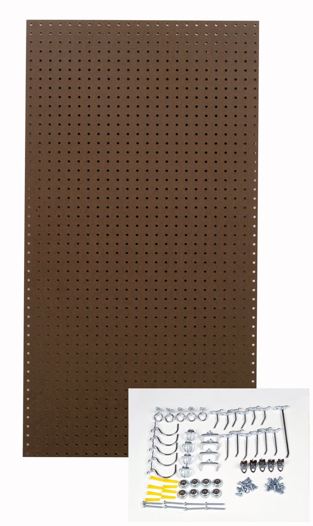 Triton Products TPB-36BRH-Kit 24-Inch W x 48-Inch H Heavy Duty Commercial Grade Tempered Round Hole Pegboards with Locking Hook Assortment, Brown