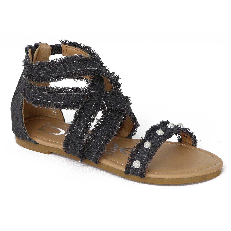 bebe Girls Denim Fringe Gladiator Sandals (Little Girl/Big Girl) (3 M US Big Kid, Dark Denim)