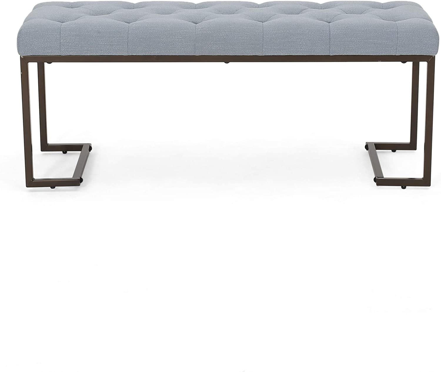Great Deal Furniture Gladys Modern Fabric Bench, Dusty Blue and Bronze
