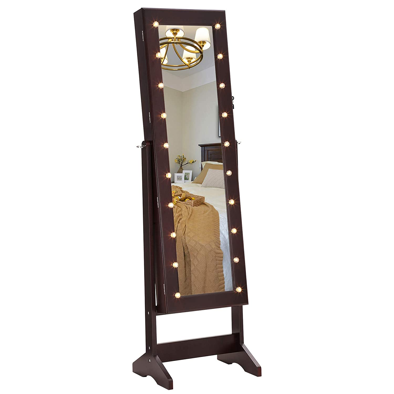 SONGMICS LED Jewelry Cabinet Armoire Mirror, Lockable Jewelry Organizer 20 Marquee Lights, Brown UJJC81BR