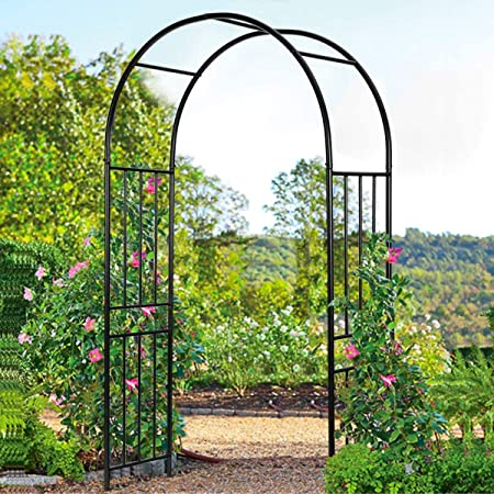 LDAILY Moccha 7.2Ft Metal Decorative Arch, Outdoor Steel Arbor with Stakes, Lightweight Arch for Various Climbing Plants, Arch for Garden, Lawn, Party, Wedding Decoration, Black